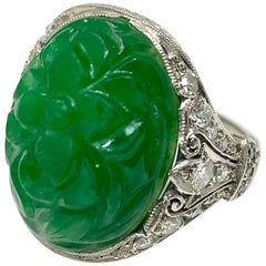 Art Deco GIA Certified Oval Carved Jade and Diamond Ring in Platinum