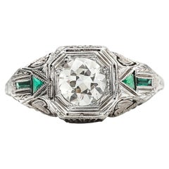 Art Deco GIA Diamond and Emerald Arrow Filigree 18 Karat White Gold, circa 1920s
