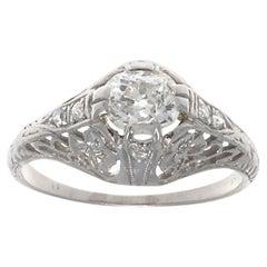 Art Deco GIA Diamond Platinum Ring