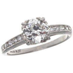 Art Deco GIA Diamond Platinum Ring