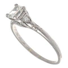 Art Deco GIA Half Carat Emerald Cut Diamond Platinum Engagement Ring