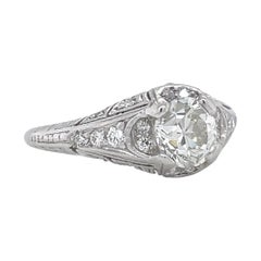 Art Deco GIA Old European Cut Diamond Platinum Engagement Ring