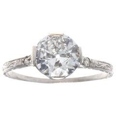 Art Deco GIA Old European Cut Diamond Platinum Engagement Ring