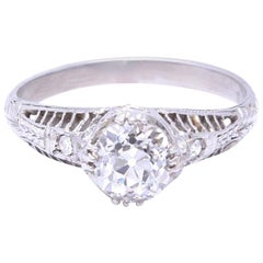 Art Deco GIA Old Mine Cut Diamond Platinum Diamond