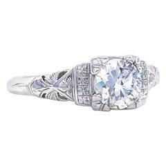 Art Deco GIA Round Brilliant Cut Diamond Platinum Ring