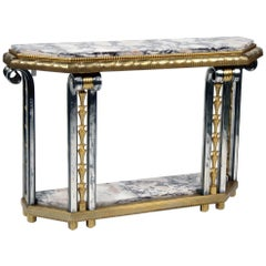 Art Deco Gilded and Platted Bronze Console Table