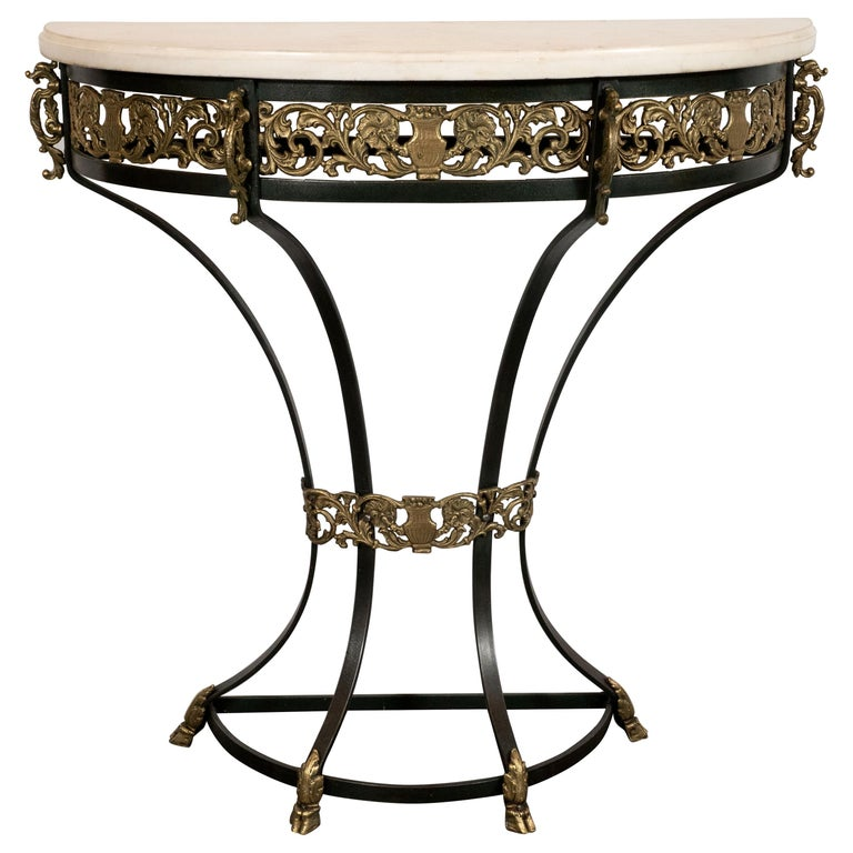 Art Deco Gilded Bronze and Carrara Marble Console Table with Baroque Detailing For Sale