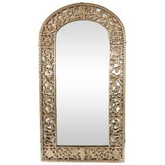 Art Deco Gilded Bronze Arabesque Arch Form Mirror in the Manner of Edgar Brandt