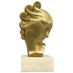 Art Deco Gilded Bronze Bust, French, circa 1930