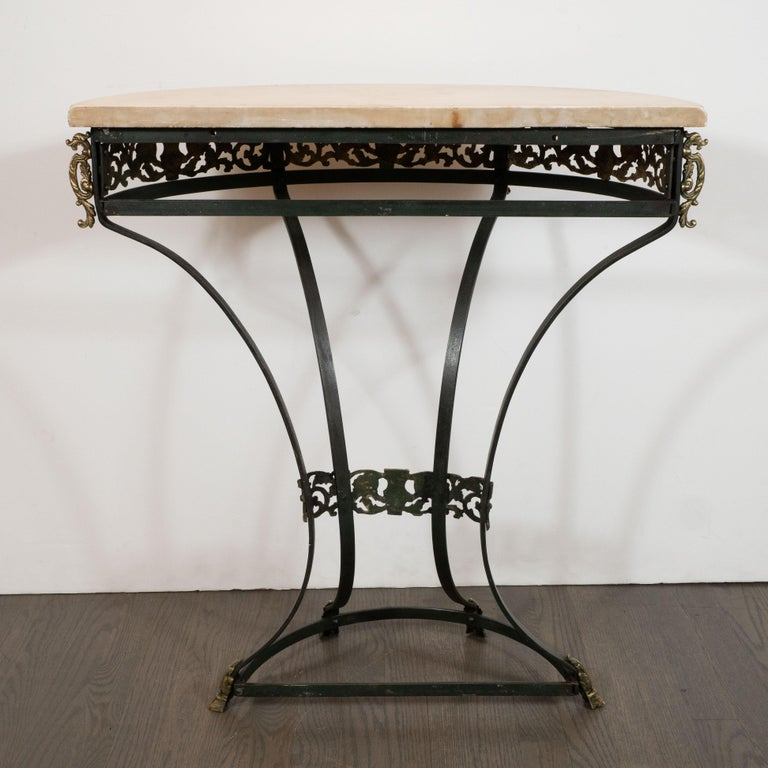Art Deco Gilded Bronze and Carrara Marble Console Table with Baroque Detailing For Sale 6