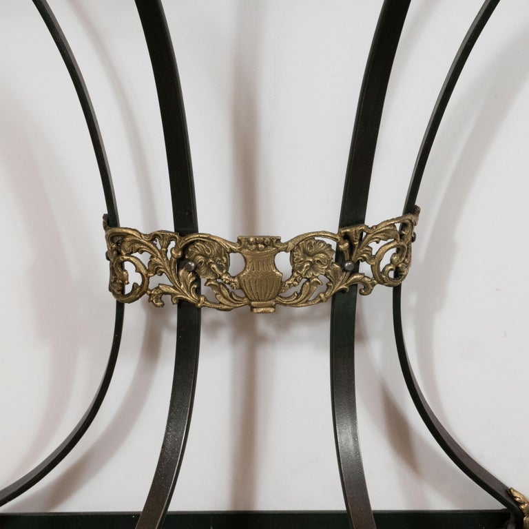 American Art Deco Gilded Bronze and Carrara Marble Console Table with Baroque Detailing For Sale