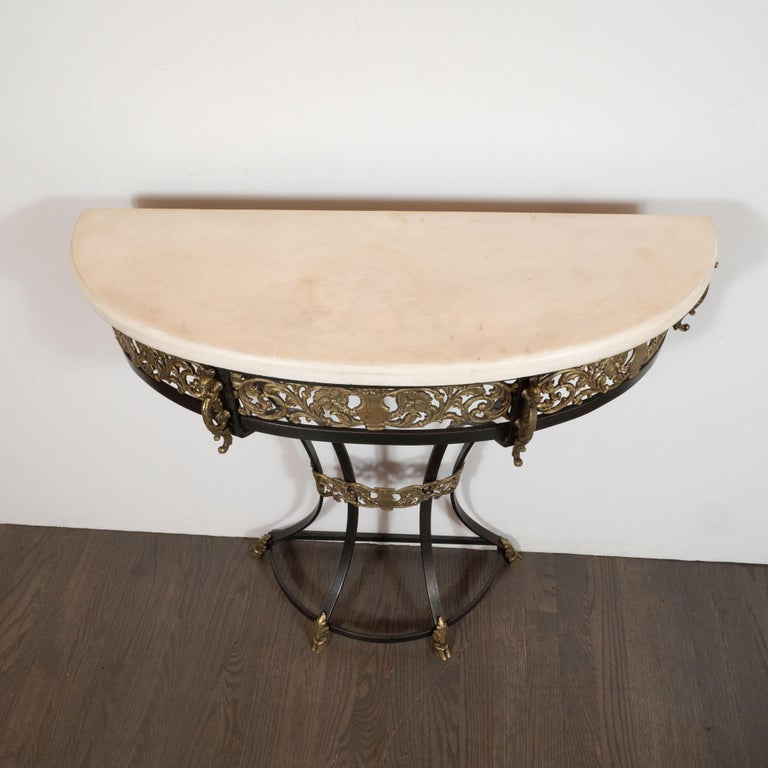 Art Deco Gilded Bronze and Carrara Marble Console Table with Baroque Detailing For Sale 2