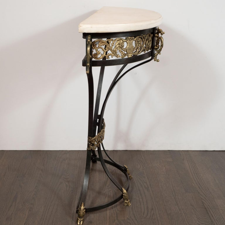 Art Deco Gilded Bronze and Carrara Marble Console Table with Baroque Detailing For Sale 3