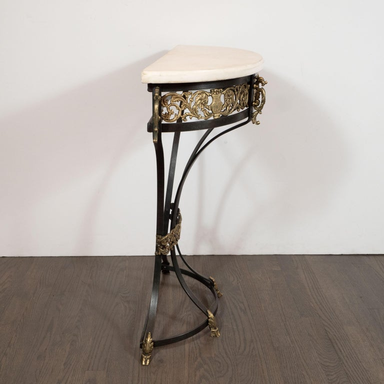 Art Deco Gilded Bronze and Carrara Marble Console Table with Baroque Detailing For Sale 4