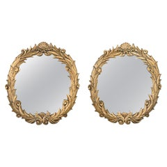 Art Deco Gilded Resin Mirrors Anthemion Foliate Design a Pair Style Serge Roche