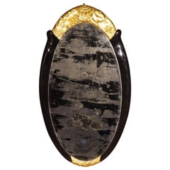 Art Deco Gilt and Black Lacquer Framed Oval Mirror Attributed to Süe et Mare
