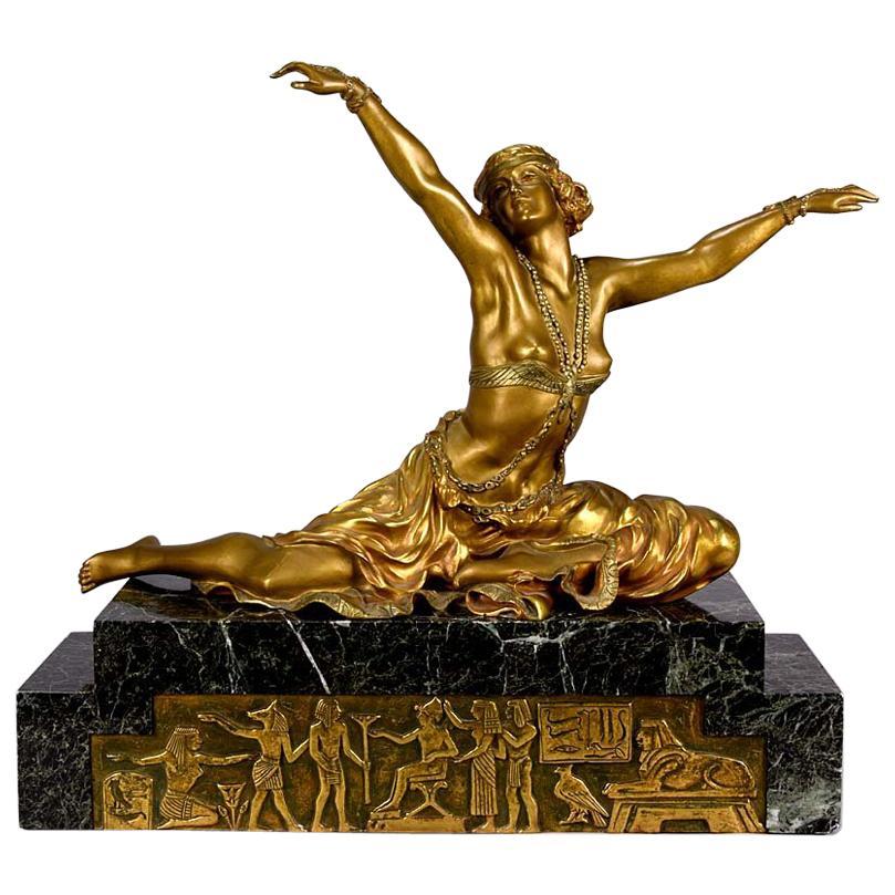 """Art Deco Gilt and Enamel Bronze Figure """"Theban Dancer"""" by Claire J R Colinet"""