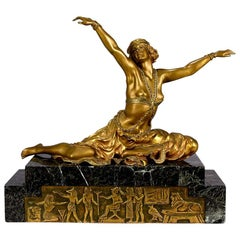"Art Deco Gilt and Enamel Bronze Figure ""Theban Dancer"" by Claire J R Colinet"