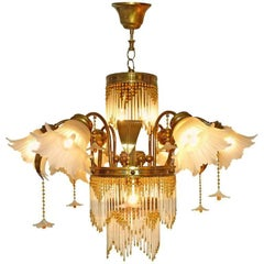 Art Deco Gilt Brass & Beaded Amber Glass/ Palm Tree Hollywood Regency Chandelier