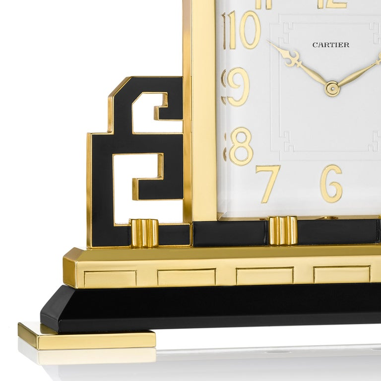 Cartier Paris Art Deco Gilt Brass and Black Enamel Chinoiserie Clock, circa 1925 In Good Condition For Sale In New York, NY