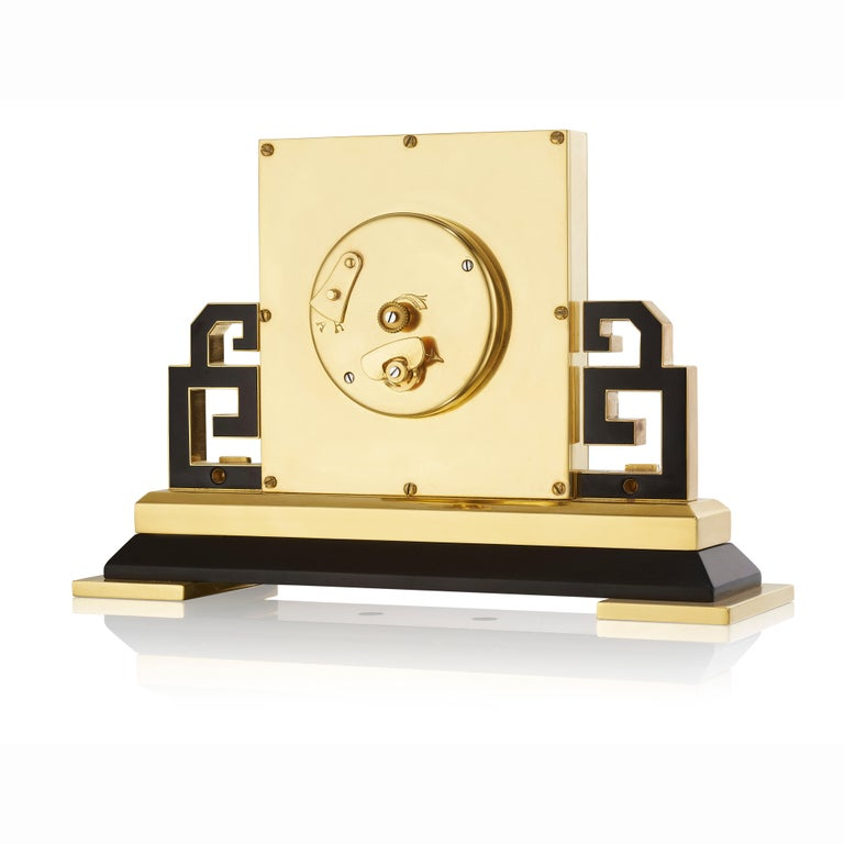 Women's or Men's Cartier Paris Art Deco Gilt Brass and Black Enamel Chinoiserie Clock, circa 1925 For Sale