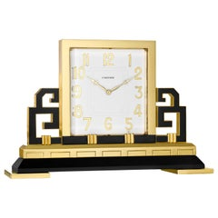 Cartier Paris Art Deco Gilt Brass and Black Enamel Chinoiserie Clock, circa 1925