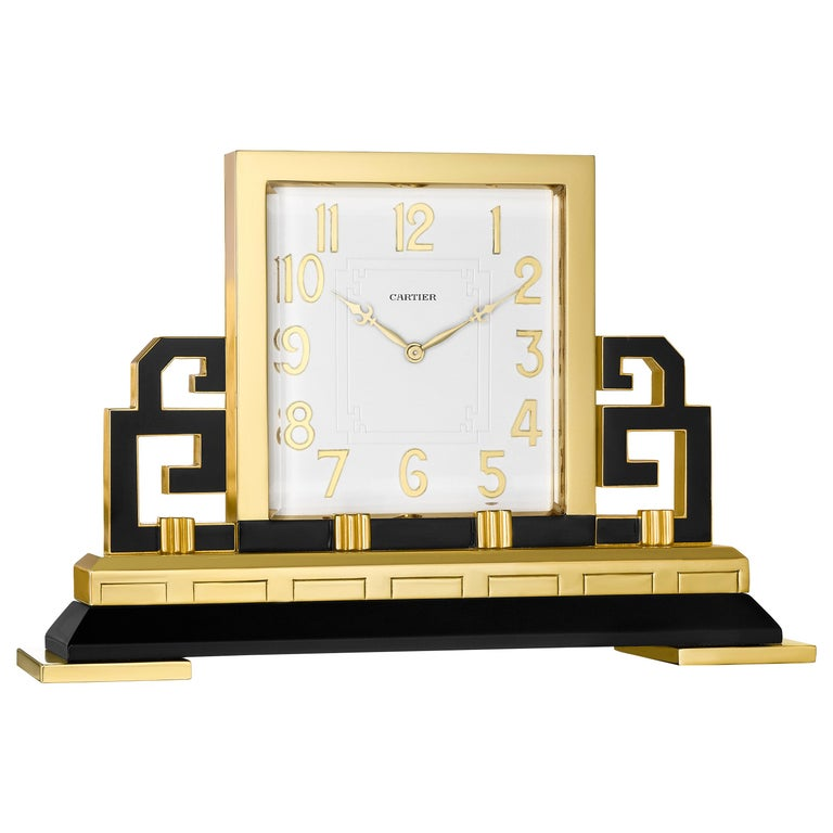 Cartier Paris Art Deco Gilt Brass and Black Enamel Chinoiserie Clock, circa 1925 For Sale
