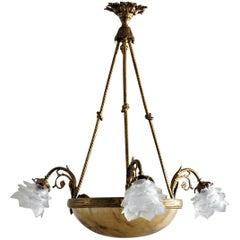 Art Deco Gilt Bronze Alabaster Six-Light Chandelier