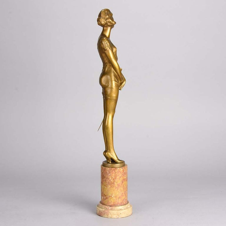 German Art Deco Gilt Bronze Figure Entitled 'Whip Girl' by Bruno Zach For Sale