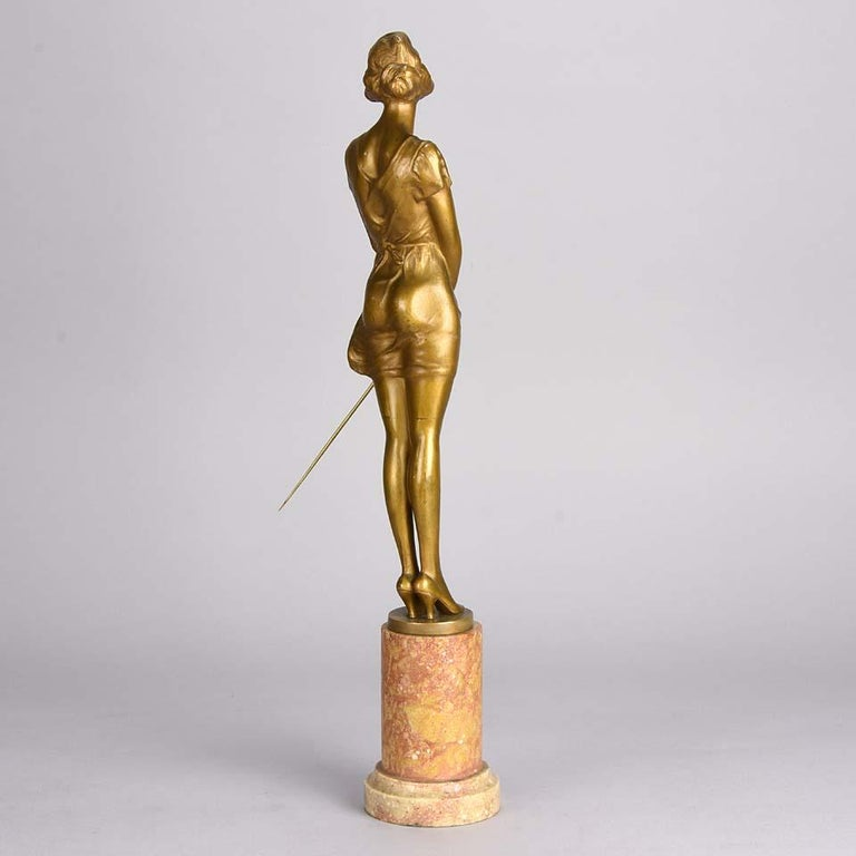 Cast Art Deco Gilt Bronze Figure Entitled 'Whip Girl' by Bruno Zach For Sale