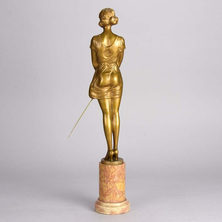 Art Deco Gilt Bronze Figure Entitled 'Whip Girl' by Bruno Zach In Excellent Condition For Sale In London, GB