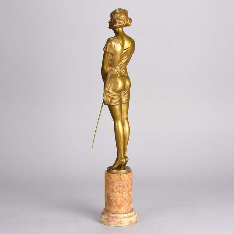 Early 20th Century Art Deco Gilt Bronze Figure Entitled 'Whip Girl' by Bruno Zach For Sale
