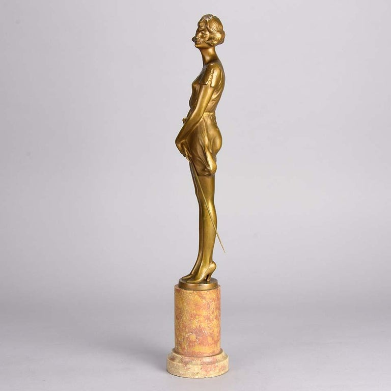 Art Deco Gilt Bronze Figure Entitled 'Whip Girl' by Bruno Zach For Sale 1