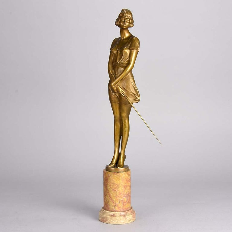 Art Deco Gilt Bronze Figure Entitled 'Whip Girl' by Bruno Zach For Sale 2