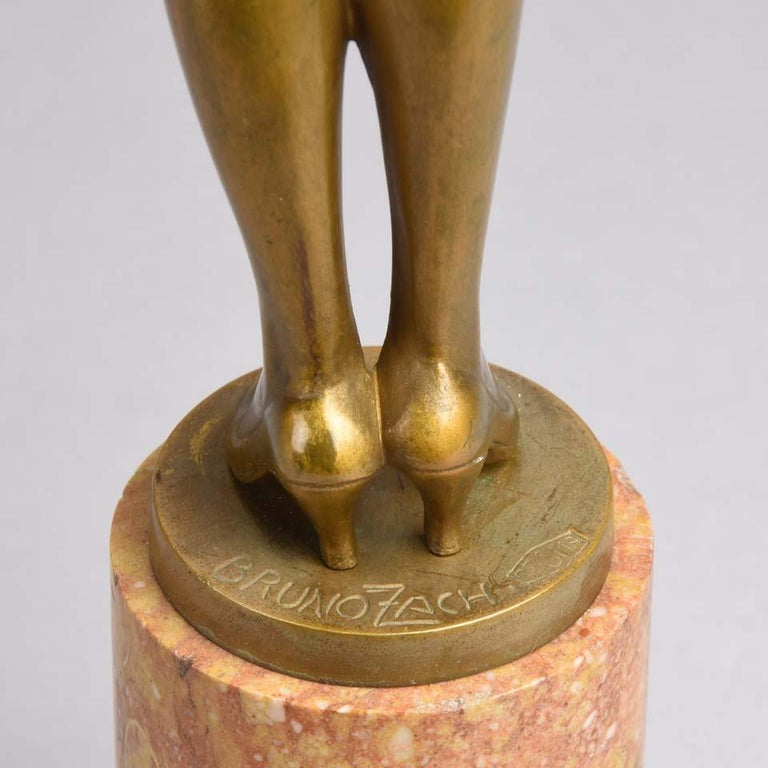 Art Deco Gilt Bronze Figure Entitled 'Whip Girl' by Bruno Zach For Sale 3