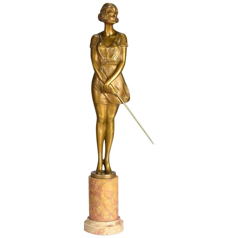 Art Deco Gilt Bronze Figure Entitled 'Whip Girl' by Bruno Zach For Sale