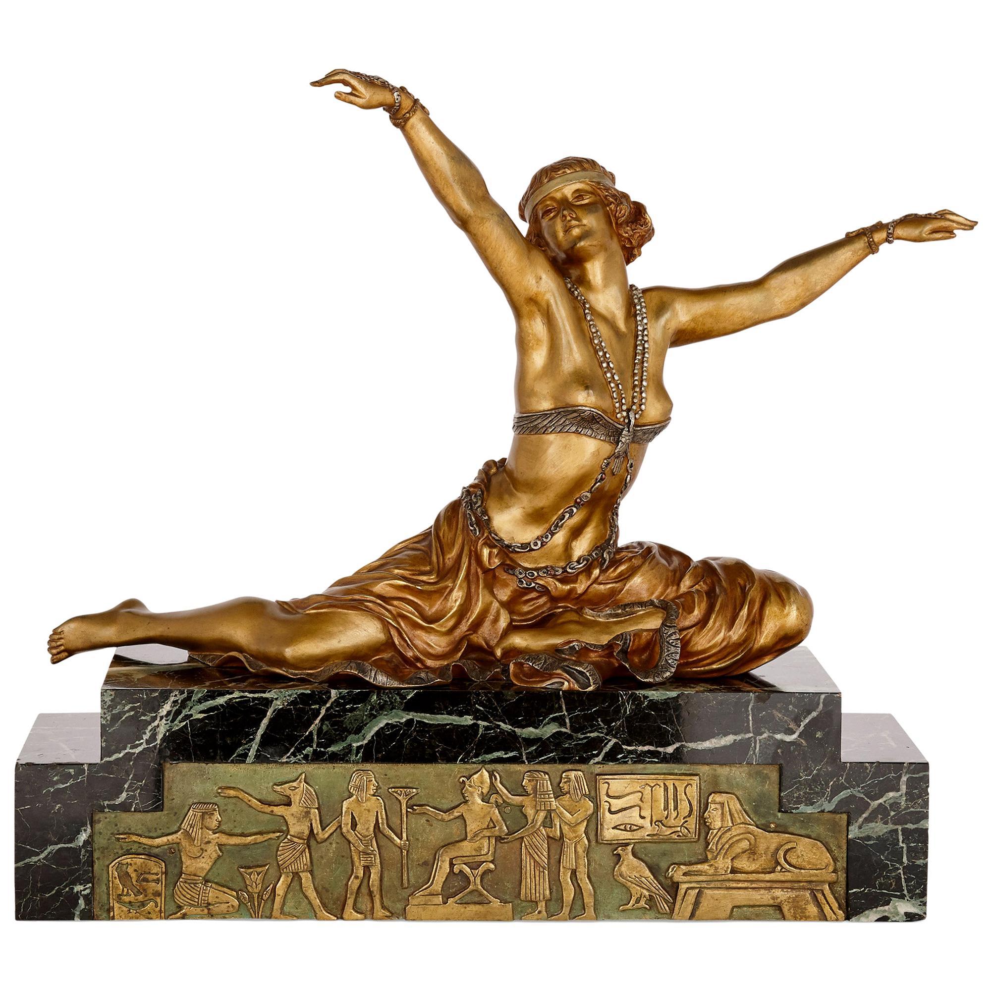 Art Deco Gilt Bronze Sculpture of the 'Theban Dancer' by CJR Colinet