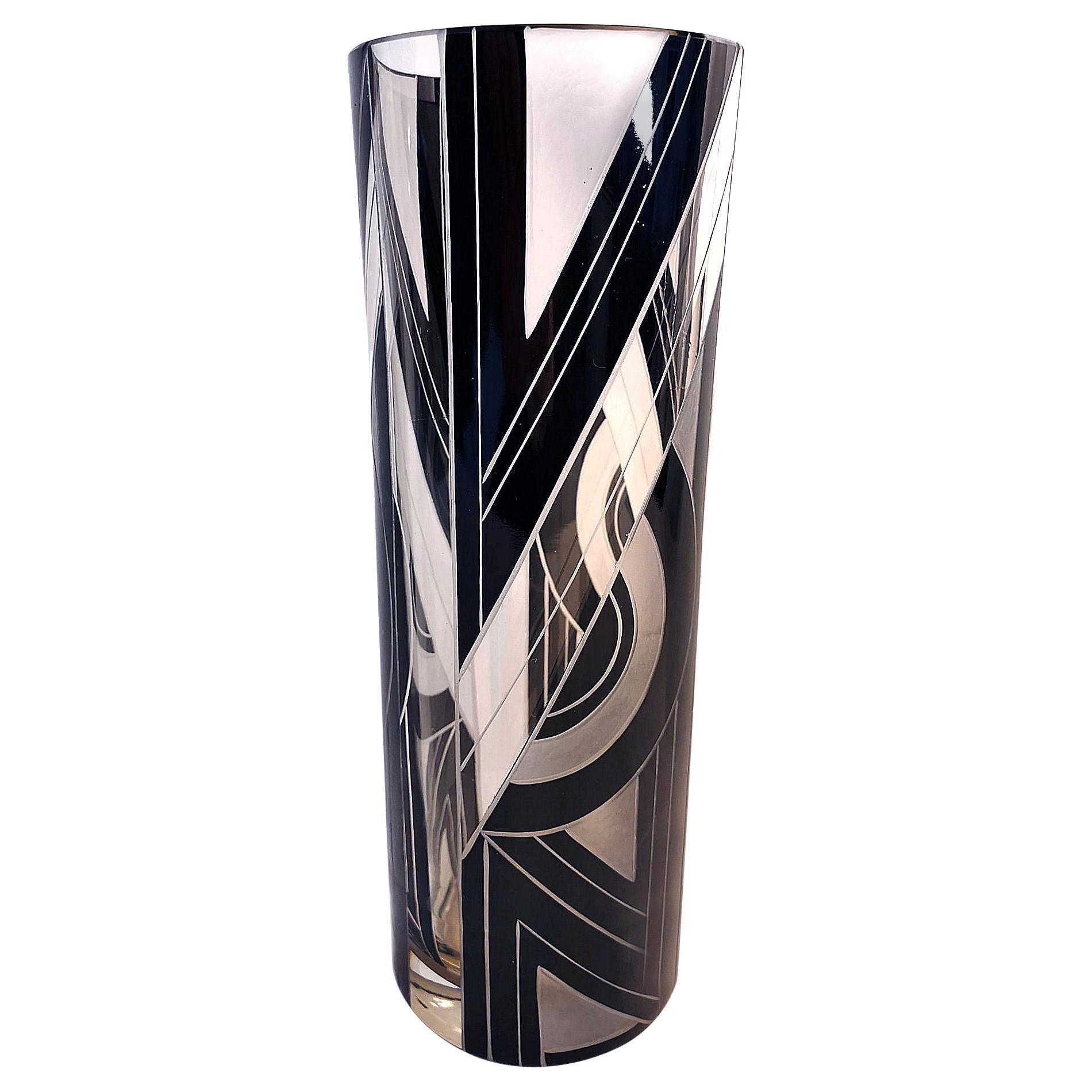 Art Deco Glass and Black Enamel Etched Vase