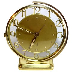 Art Deco Glass and Brass Clock by JAZ