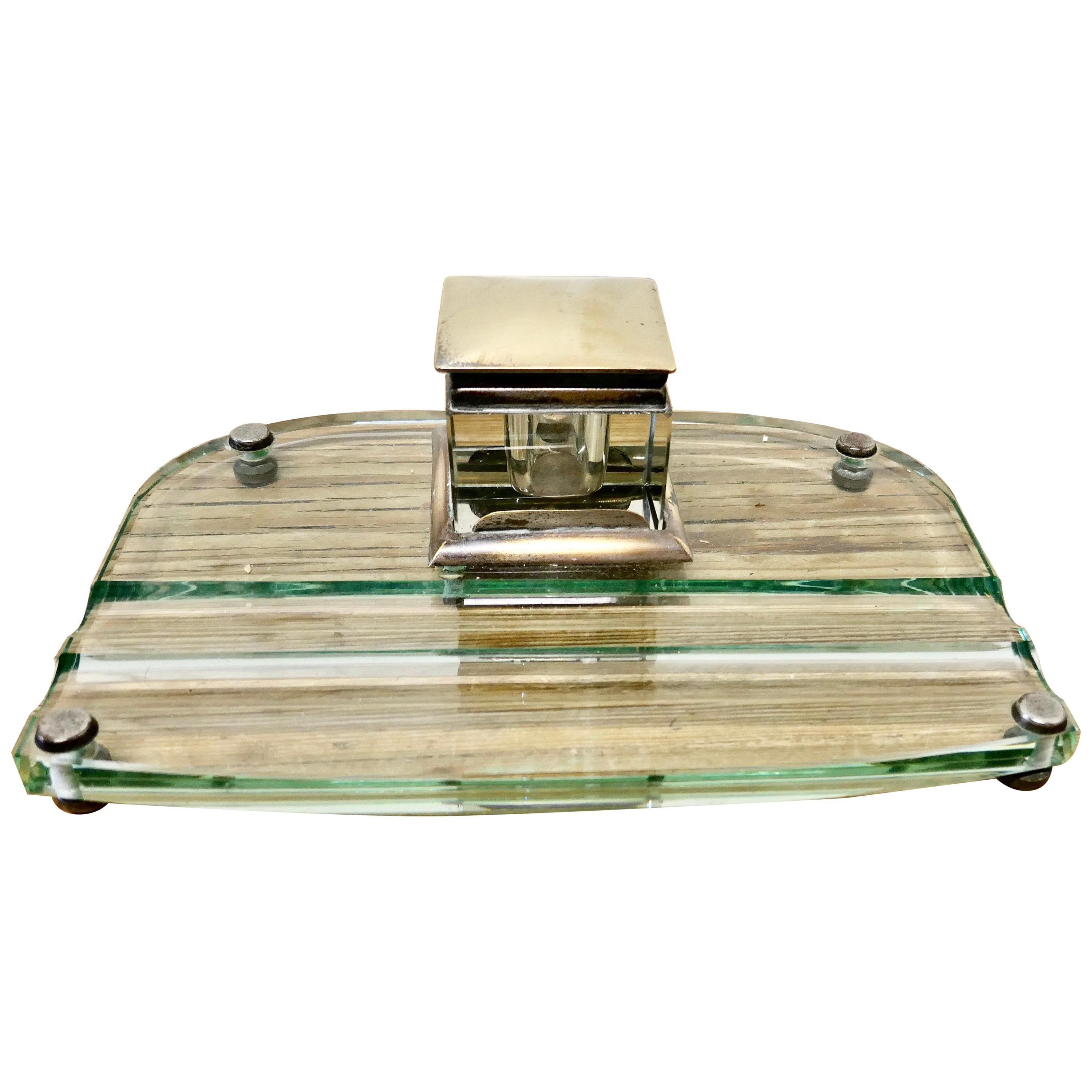 Art Deco Glass and Brass Desk Inkwell with Pen Rest