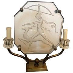 Art Deco Glass and Brass Italian Diana Table Lamp, circa 1930