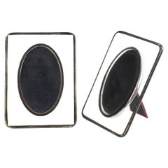 Art Deco Glass and Brass Pair of Picture Frames