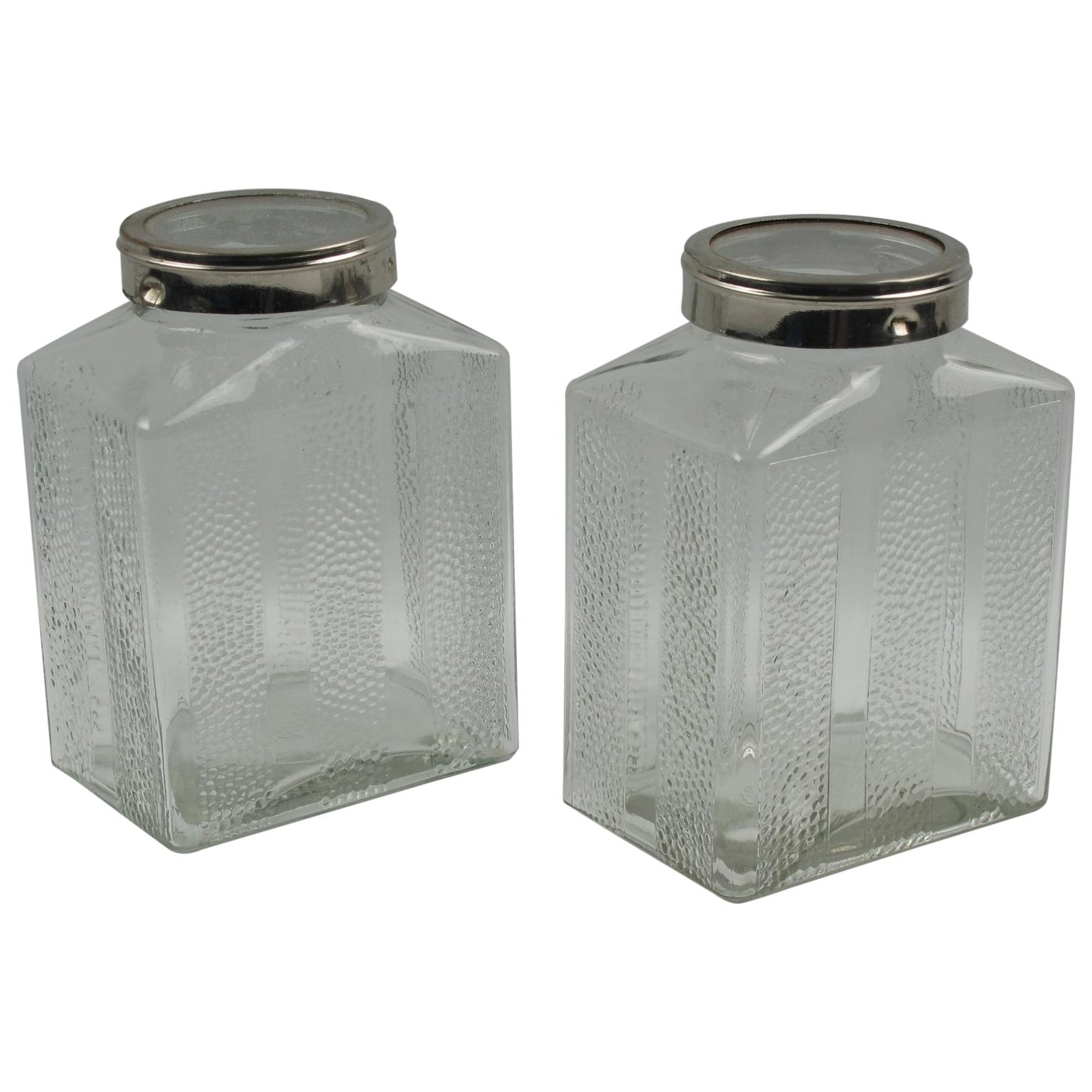 Art Deco Glass and Chrome Kitchen Canister Jar, a pair