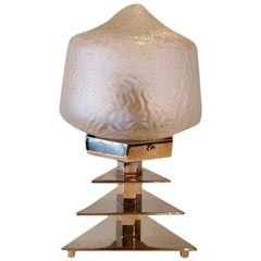 Art Deco Glass and Chrome Table Lamp, French