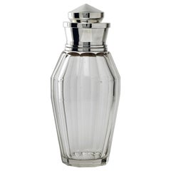 Art Deco Glass and Silver Cocktail Shaker