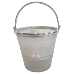 Art Deco Glass and Silver-Plate Ice Bowl of Pail Form with Internal Ice Guard