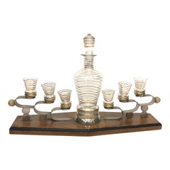 Art Deco Glass and Wood Italian Liquor Set on Stand, circa 1930