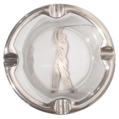 Art Deco Glass Ashtray with Sterling Overlay of a Golfer Swinging a Club