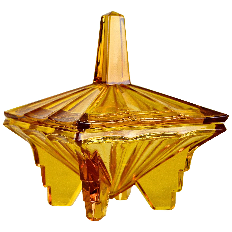 Art Deco Glass Box with Lid Amber Colored, Austria, circa 1920
