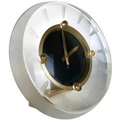 Art Deco Glas & Messing Uhr von JAZ Modele Depose, Acht Tage Reserve, 1930er, Frankreich